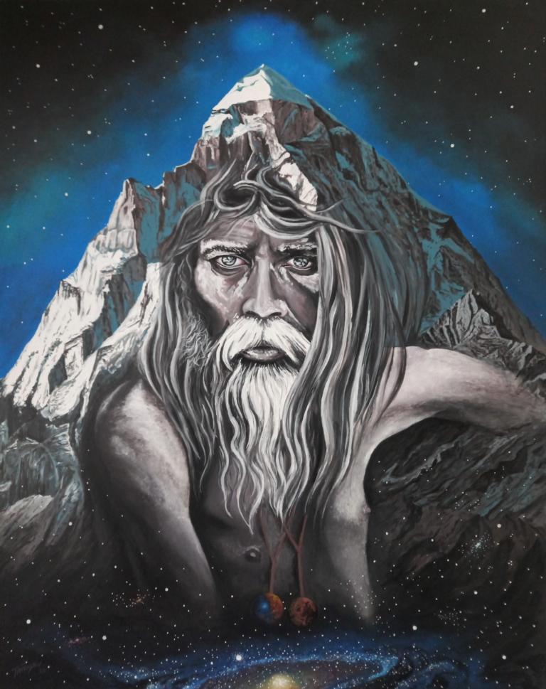 Shivling Sadhu - Acryl/Leinwand - 80x100cm
