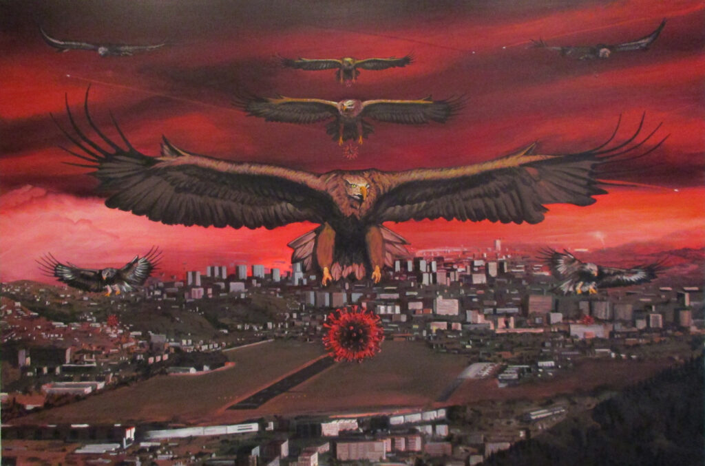 Rache der Natur - Die Adlerstaffel C19 bombardiert die Landeshauptstadt mit dem Coronavirus - Acryl/Leinwand - 80x120cm