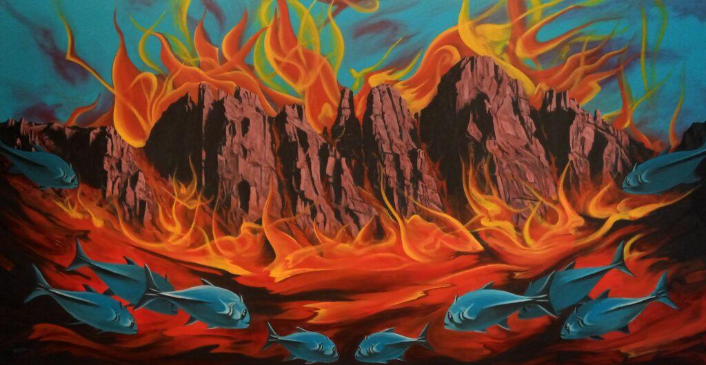 Feuerfische - Acryl/Leinwand - 90x170cm